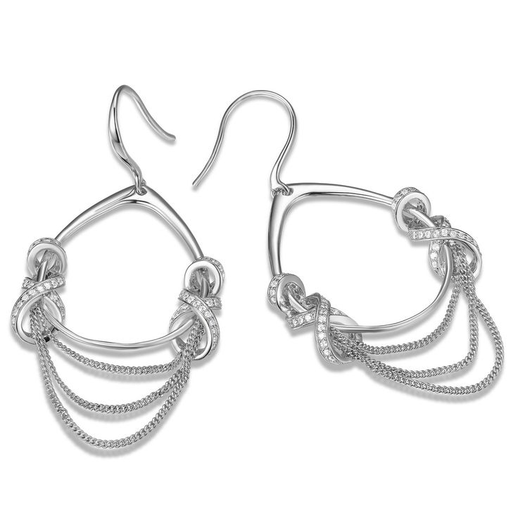 Double Pave Criss Cross With 3 Layer Chain Earrings – ELLE Time & Jewelry