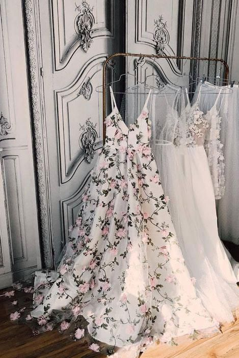 White v neck 3d applique long prom dress, evening dress, bridesmaid dresses