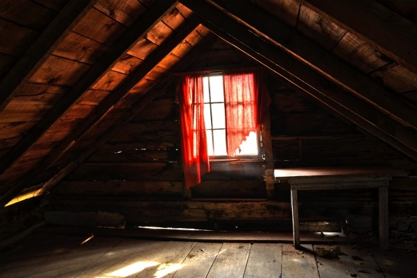 Tattered Red Curtains Old Attic Window Rustic Old