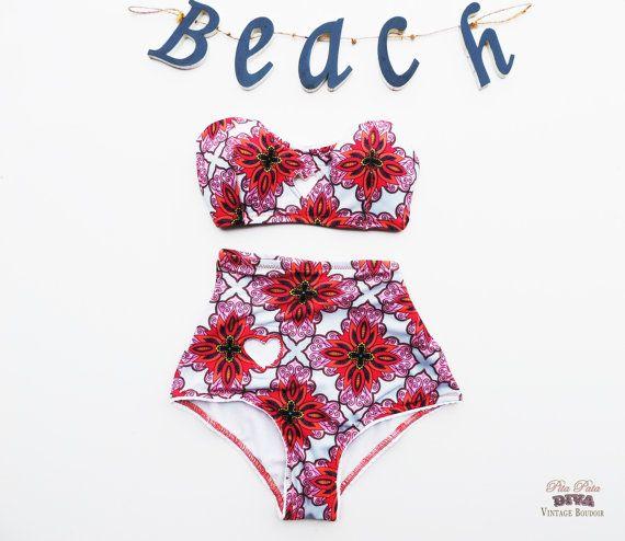 High Waisted Bow Bikini floral paisley boho pink by PitaPataDiVa