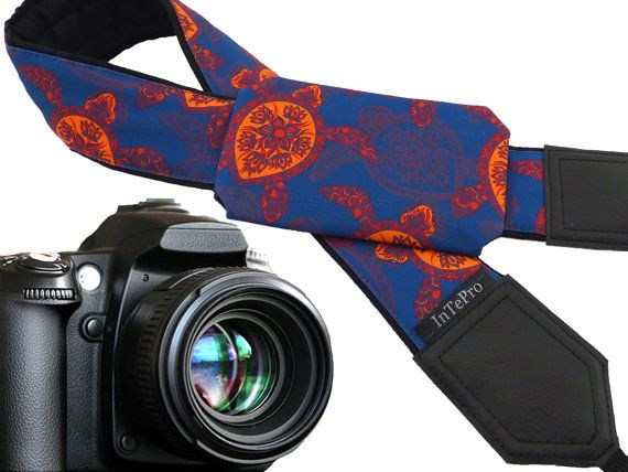 Pocket camera strap with turtles. Blue and orange stylized fashion camera strap. Neck camera straps for every budget by InTePro