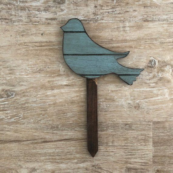Rustic Blue Bird Yard Stakes Wooden Blue Bird Painted 400 x 300