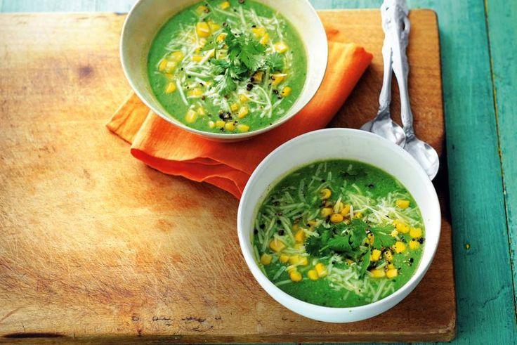 De jalapeño's geven deze soep extra pit! De maiskorrels geven het Mexicaanse tintje - Recept - Allerhande