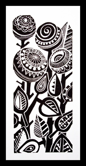 Abstract Floral Lino Print - Jools Yasities    Image, present idea. Always has that 1960's/ 70's feel to it. Good to use teasels and long stemmed flowers
