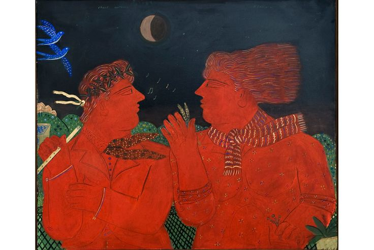 Alekos Fassianos, b. 1935 (Greek). The Song of the Night. Oil on canvas.