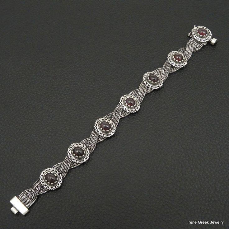 NATURAL GARNET BYZANTINE STYLE 925 STERLING SILVER GREEK HANDMADE CHAIN BRACELET #IreneGreekJewelry #Chain
