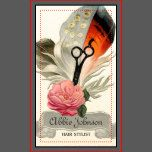 This beautiful, vintage, girly business card featuring a large, orange feather and a big, beautiful light blue pink and a pair of scissors/shears is perfect for hair stylists, hairstylists, hair dressers, cosmetologists, cosmetology, salons and more!
