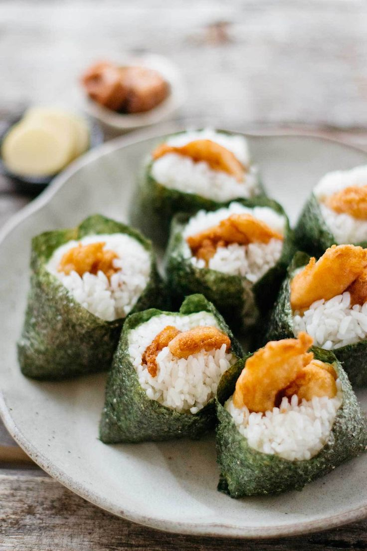 Tempura prawn and Omusubi (onigiri rice balls)