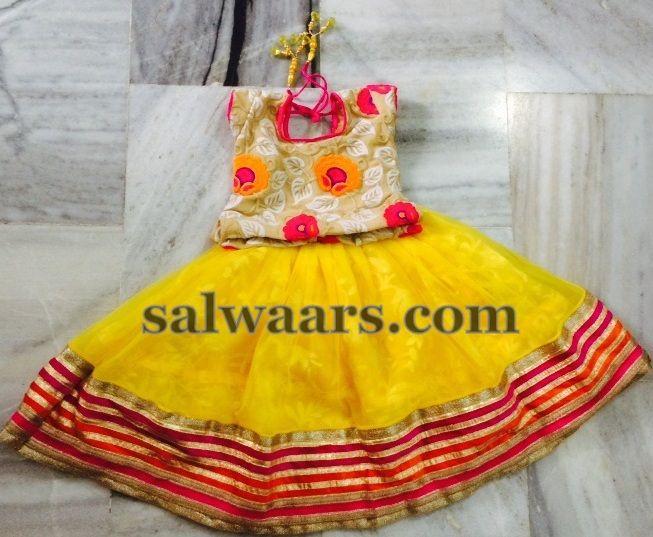 Designer Kids Blouse Yellow Lehenga