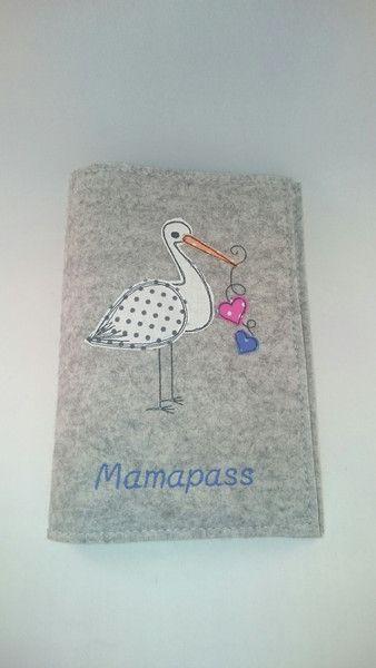 Mutterpasshüllen - Mutterpasshülle Filz mit Storch - ein Designerstück von Ommella bei DaWanda