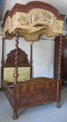 Tapestry top burled walnut canopy bed, circa 1850