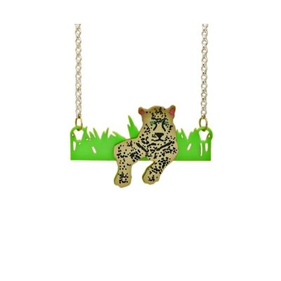 Deluxe Wild Leopard Statement Necklace Golden leopard in the grass a wild statement piece with bright green bright gold dark black spots & piercing green eye detail