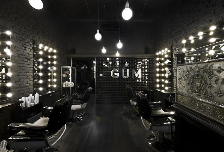 Black Brick Walls Hair salon interior, Salon interior