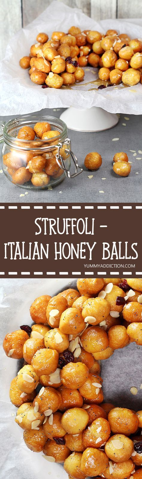 These Italian Honey Balls (Struffoli) are usually served on Christmas and other holidays. They are crunchy on the outside, soft and warm inside. Perfection! | http://yummyaddiction.com