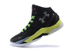3ac18bcd903 Mens Under Armour Steph Curry 2 Two Black Volt Yellow Silver Basketball  Shoes
