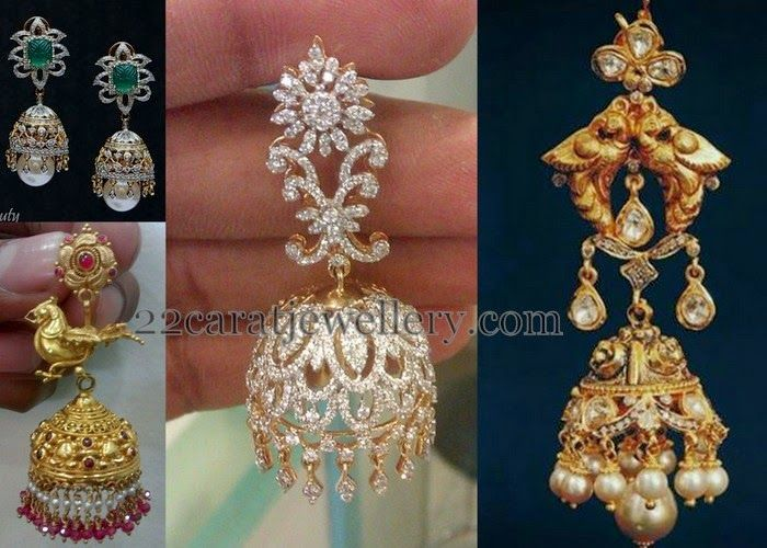 Jewellery Designs: Unique Gold and Diamond Jhumkas