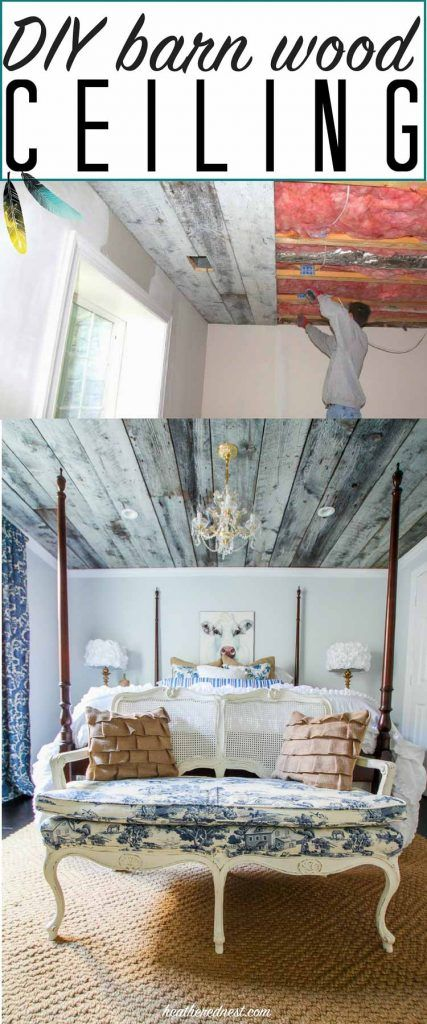 STUNNING DIY barnwood ceiling/wooden ceiling tutorial! Awesome home decor element to bring in rustic charm. From www.heatherednest.com