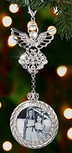Superieur Christmas Stocking Ornament Filigree Angel With Photo Frame And Crystal  Rhinestone   Metal   6.5 Inch