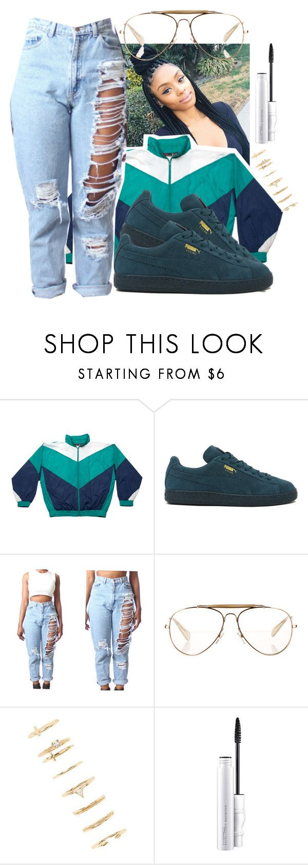 """""""Untitled #578"""" by the-fashion-fantasy ❤ liked on Polyvore featuring Dunlop, Puma, CÉLINE, Forever 21, MAC Cosmetics, denim, sporty, trend and distresseddenimm"""