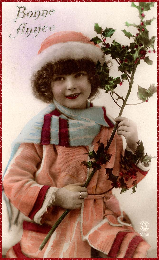 Good Year (french)- vintage girl with holly bush