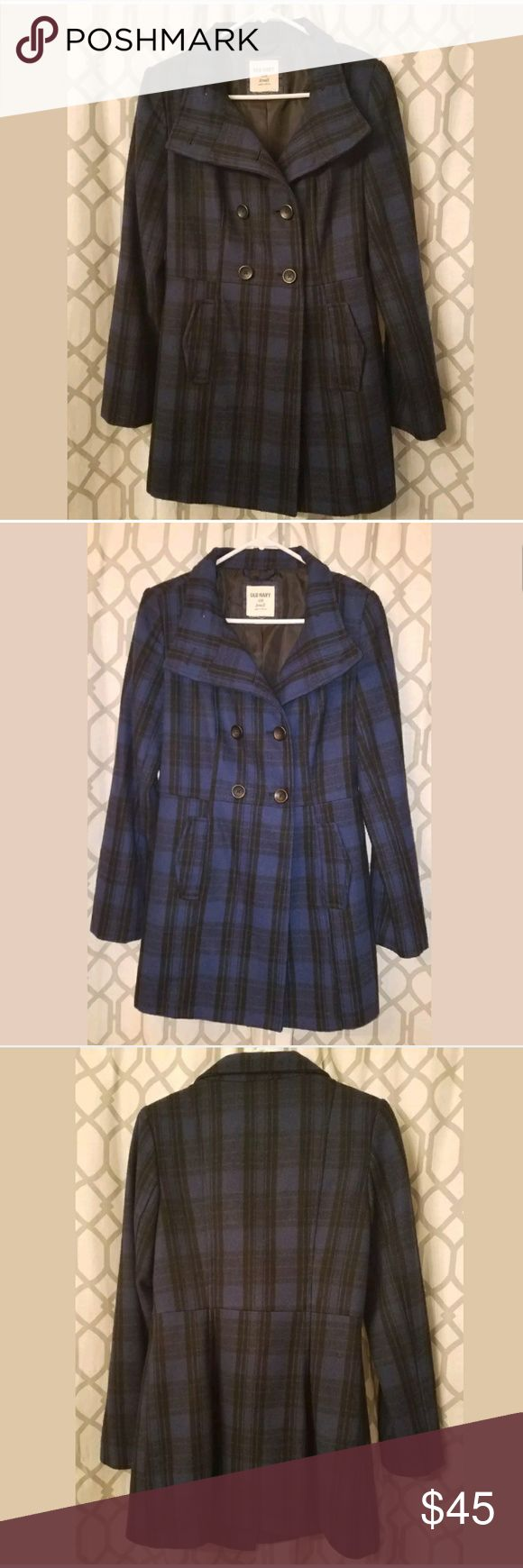 Old Navy Plaid Pea Coat Size Small Old Navy Pea Coat Size Small New without tags, too small for me unfortunately  Blue and black plaid Pictures include one with and one without flash Old Navy Jackets & Coats Pea Coats