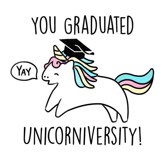 You Graduated Unicorniversity - Charlie the Unicorn Graduation, Passed, University, College card by Kerris Ganeson Illustration
