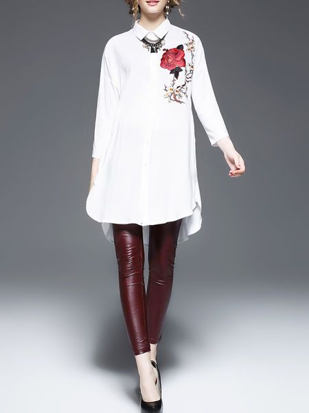 White V Neck Long Sleeve Cotton Embroidered Blouse
