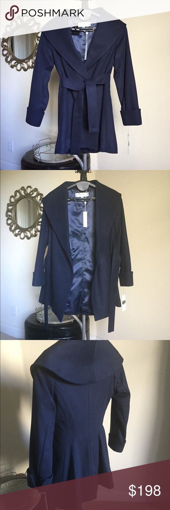 Trina Turk Ali Wrap Coat Stunning! Dramatic shawl collar and waist defining belt, beautiful wool blend, timeless appeal, feels amazing on. Deep navy to wear with everything.  Flattering fit for sure.  BRAND NEW WITH TAGS AND NEVER WORN! Trina Turk Jackets & Coats