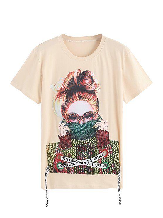 WDIRA Women s Summer Casual Figure Print Lace Up Graphic Tee Shirt ... d62b6041f