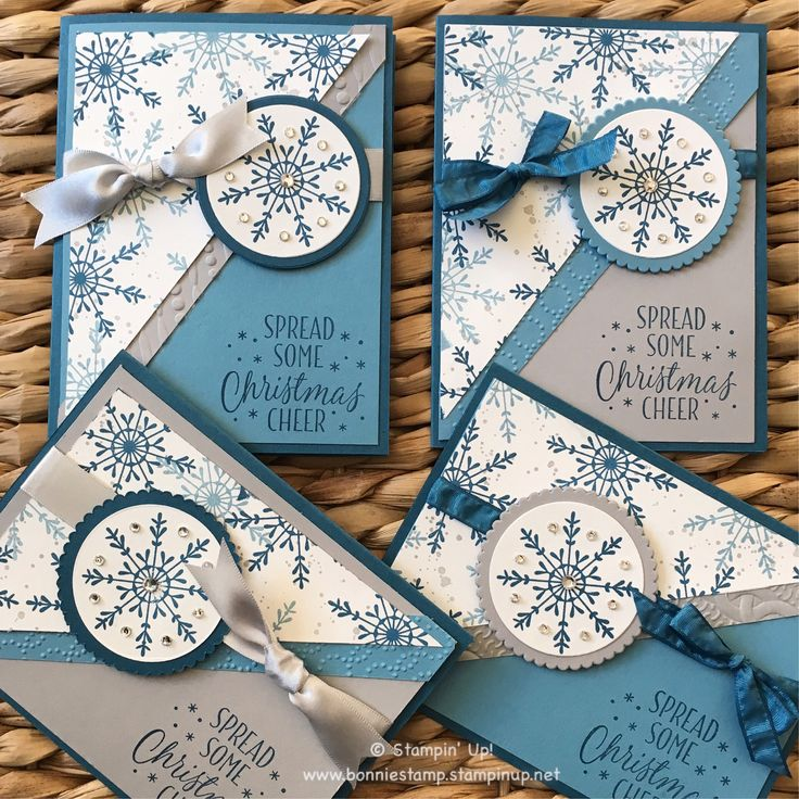 Mixing up the color scheme...that is one of the many perks SU! offers, 50 colors to choose from! The Tin of Tags stamp set (#142180 on sale!) shown here was inked with dapper denim, marina mist and smoky slate. My circle framelits are getting a lot of work this holiday season!! Lastly, two choices of ribbon to finish out the cards! ❄️ www.bonniestamp.stampinup.net