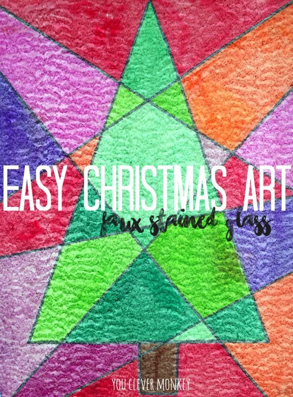 Easy Christmas Art - Faux Stained Glass. The perfect Christmas activity for children of mixed ages at home or in the classroom | you clever monkey