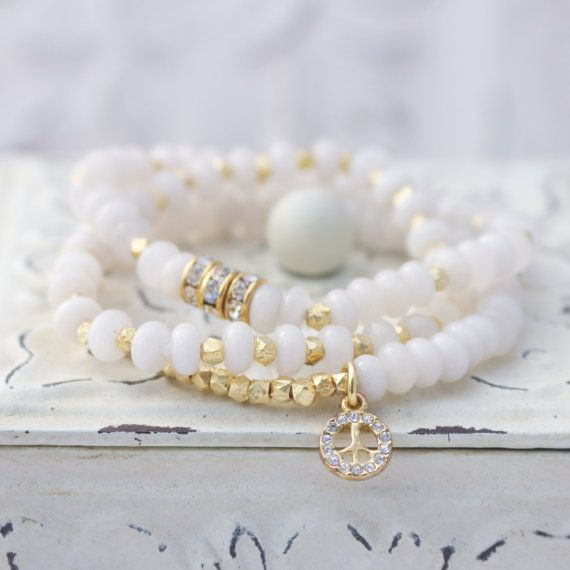 White Jade Stretch Bracelet with Gold Plated Brass Nuggets and Rhinestone Peace Charm, White Bracelet, Trendy Summer Bracelet