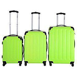 Goplus®️️ Globalway 3 Pcs Luggage Travel Set Bag ABS+PC Trolley Suitcase