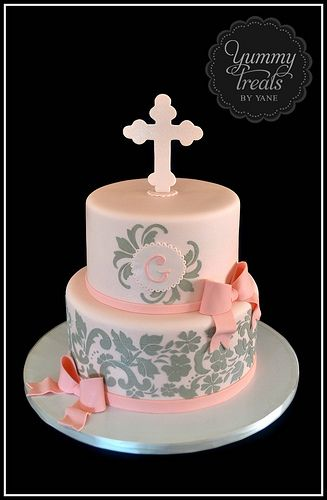 Baptism Cake! Love the pink and grey.