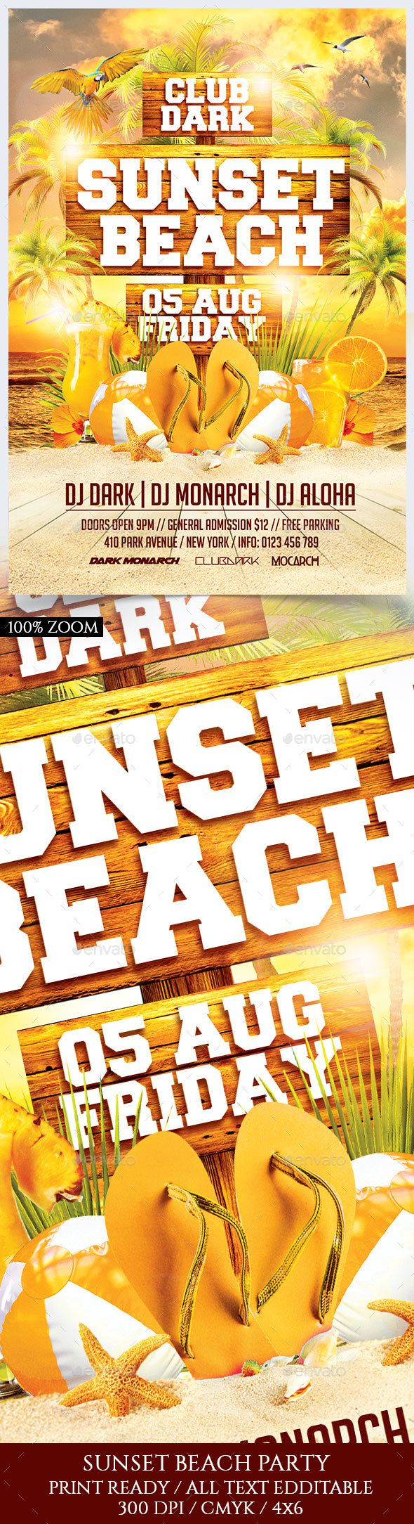 Sunset Beach Party Flyer Template PSD. Download here: https://graphicriver.net/item/sunset-beach-party/17085388?ref=ksioks