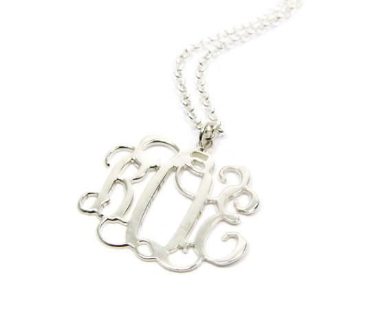 """Personalized Monogram Necklace 1.5"""". Sterling silver monogram necklace. Initial necklace. Silver initial necklace. Initial jewelry. gifts"""