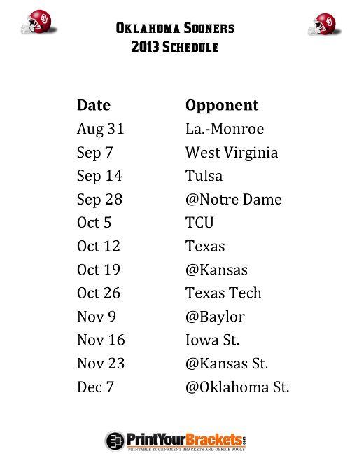 Printable Oklahoma Sooners Football Schedule 2013