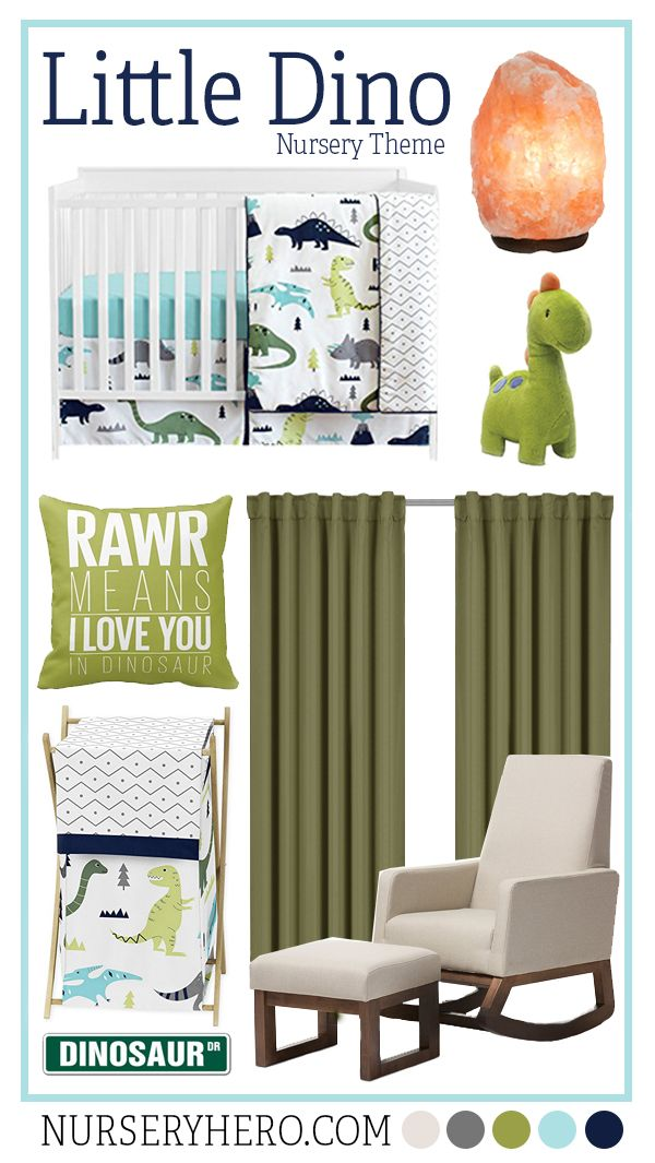 Dinosaur nursery themes are timeless! Not only are they adorable for baby, but they're educational for growing toddlers.   Find more nursery themes and inspo at www.nurseryhero.com