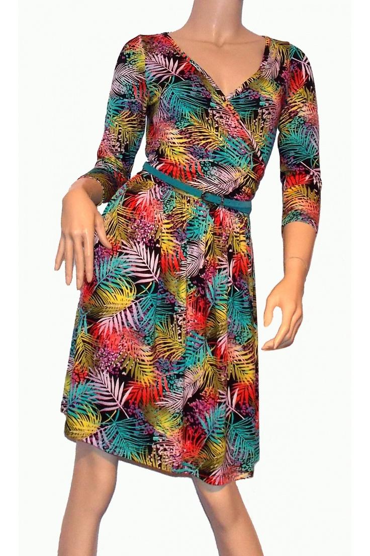 Rochie Palmy, MONIQUE cu imprimeu cu frunze colorate intens #rochii2013