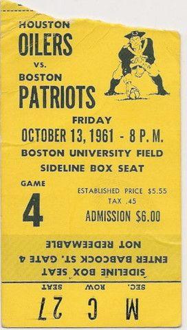 1961 Oilers at Patriots ticket stub