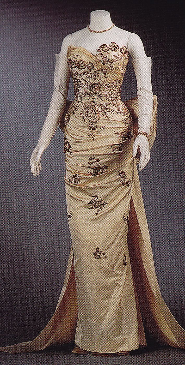 1955 Ivory Satin Embroidered with Gold Bouillion, Beads, Sequins, Crystal Rhinestones, and Gold Paillettes by Balmain (Maison Lesage Embroidery).