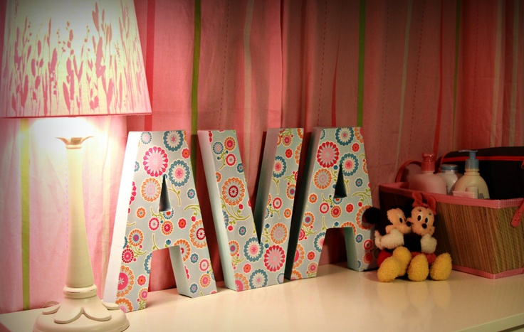 ava's name i made from cardboard letters...