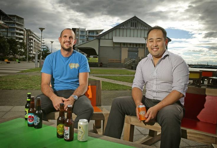 Luke Tilse, of The Happy Wombat and Apple Truck Cider, with Taiyo Namba of Nagisa restaurant have organised the Boardwalk Beer Festival. Picture: Marina Neil