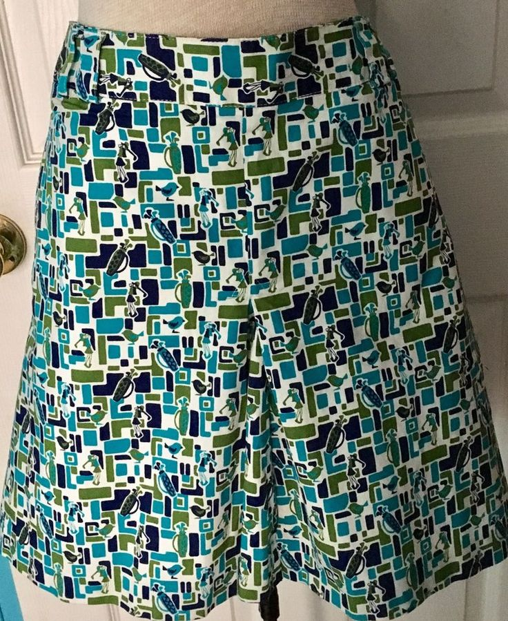 Liz Golf Size 16 Women's Skort Skirt Short Combination Geometric Retro Print #LizGolf