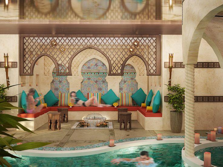 Indoor pool for a hotel dubai uae beautiful decor in for Pool design dubai