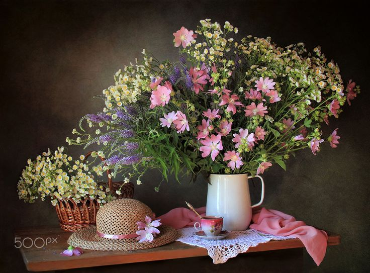 Summer still life with meadow flowers - null