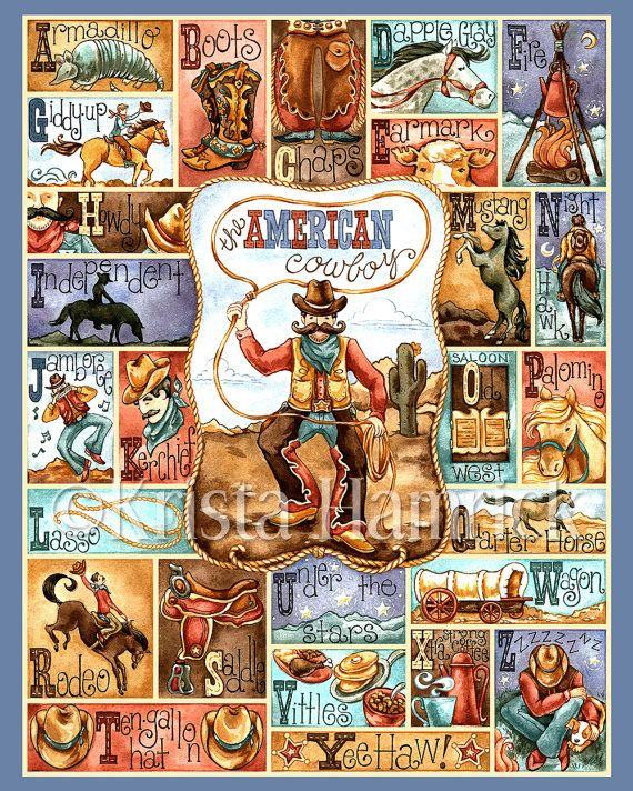 Cowboy alfabet--originele kunst drukken 8 X 10, 11 X 14