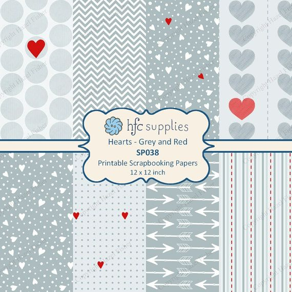 Hearts Grey and Red Patterned Scrapbook Papers by hfcSupplies. Printable paper set, digital scrapbooking papers for Valentine's Day, Wedding or Anniversary craft projects.