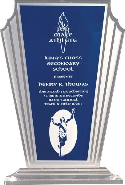 Blue Tapered Fan Acrylic Award