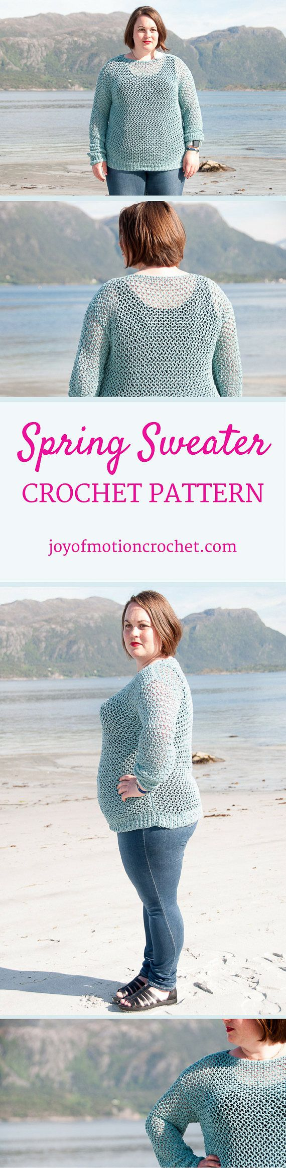 Spring Sweater Crochet Pattern  ★ Crochet pattern for the Spring Sweater, a lacy & quick sweater pattern. ★ Perfect to make for yourself for the spring & summer season. ★ S – XL. ★ Skill level: EASY ★ Language: English / US crochet terms.  The Spring sweater crochet pattern are a easy sweater crochet pattern that's perfect for spring. It's designed with cotton yarn, and this sweater will be your favorite throughout the season. It is quick to make, as there is no shaping in the bo...